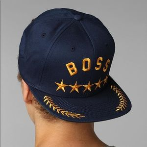 Undefeated Boss Snapback Hat Navy & Gold Stars